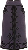 Temperley London Voyage Embroidered Cotton-blend Corduroy Midi Skirt - Grape