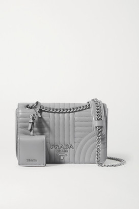 Prada Diagramme Quilted Leather Shoulder Bag - Gray