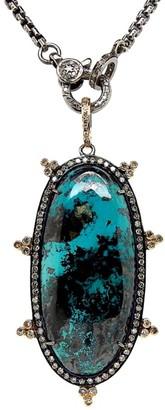 Nina Gilin 14K Yellow Gold & Black Rhodium Silver Diamond Turquoise Necklace