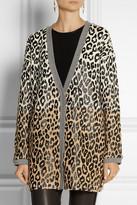 Elizabeth and James Oversized leopard-print cotton-blend cardigan