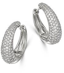 Bloomingdale's Pave Diamond Hoop Earrings in 14K White Gold, 2.0 ct. t.w. - 100% Exclusive