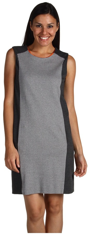 Joan Vass Check Panel Dress (Grey Flannel) - Apparel