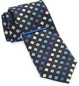 Gold Series Geo Silk Tie with Enamel Tie Bar Casual Male XL Big & Tall