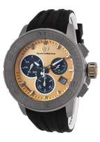 Technomarine Tm-515005 Men's Titanium Reef Chrono Two-Tone Silicone Gold-Tone Carbon Dial Watch
