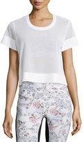 Lucas Hugh Perforated Mesh Cropped Sport Shirt, White
