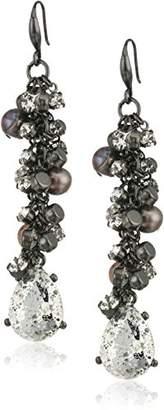 Badgley Mischka Crystal & Pearl Shaky Drop Earrings