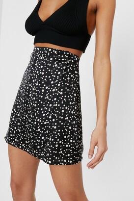 Nasty Gal Womens Damn You're Polka Dot Satin Wrap Skirt - Black - 4, Black