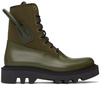 Givenchy Khaki Neoprene and Rubber Combat Boots