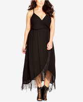 City Chic Plus Size Fringe Maxi Tulip Dress