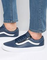 Vans Old Skool Leather Zip Trainers In Blue V0018gjti