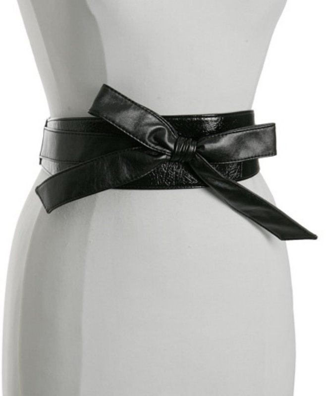 Fashion Focus black patent stretch back 'Obi' belt