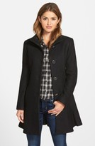 Kensie Women's Single Breasted Ruffle Hem Coat