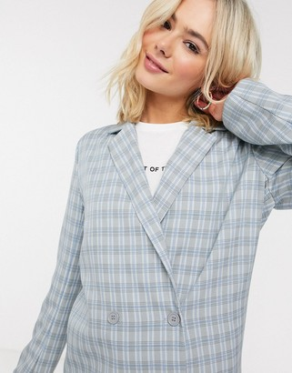 Heartbreak double breasted blazer suit in gray and blue check