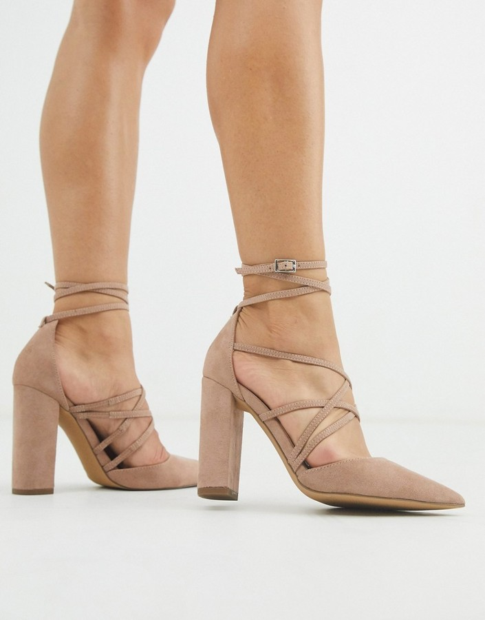 Asos DESIGN Pick Me Up high block heels in taupe