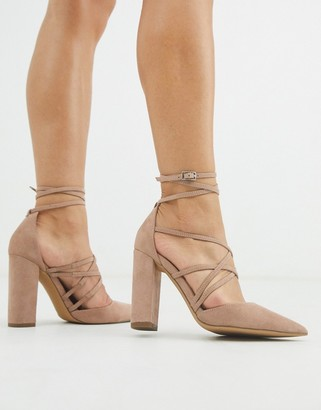 Asos Design DESIGN Pick Me Up high block heels in taupe