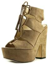 Nine West Quarlie Women Open Toe Canvas Brown Platform Heel.