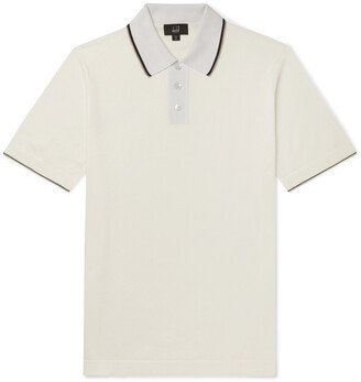 Dunhill Slim-Fit Silk-Trimmed Knitted Cotton Polo Shirt - Men - White