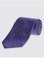 M&S Collection Pure Silk Spotted Textured Tie