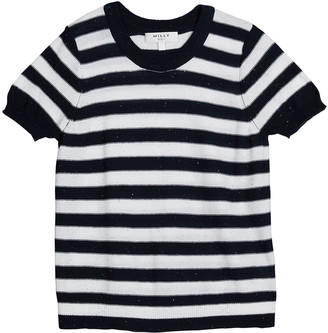 Milly Girl's Short Sleeve Striped Knit Sweater, Size 7-16