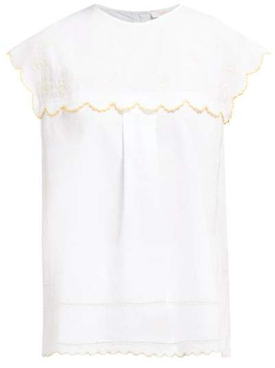 8b751328 Floral Embroidered Cotton Blouse - Womens - Ivory