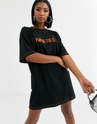 Public Desire oversized t-shirt dress with nineties embroidery-Black