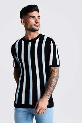 boohoo Regular Fit Vertical Stripe Knitted T-Shirt