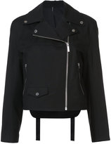 Helmut Lang zip up biker jacket - women - Cotton/Spandex/Elastane/Cupro - XS