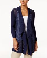 JM Collection Petite Shadow-Striped Draped Cardigan, Only At Macy's