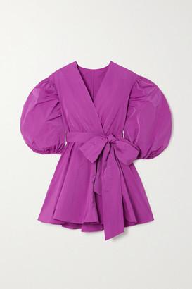 Valentino Pleated Cotton-blend Faille Wrap Mini Dress - Pink