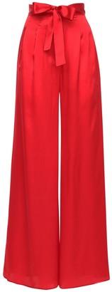 LIYA Wide Leg Silk Satin Pants