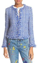 Alice + Olivia Women's Nila Frayed Hem Boxy Jacket