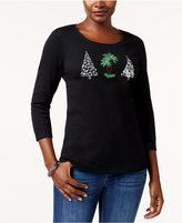 Karen Scott Cotton Embellished Graphic Top, Created for Macy's