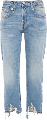R 13 Boy Straight Distressed Mid-rise Straight-leg Jeans