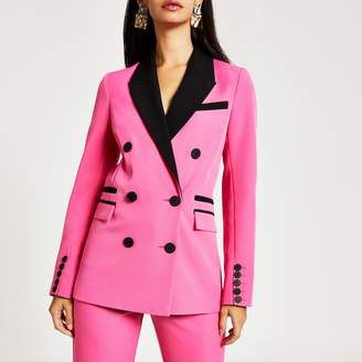 River Island Womens Pink colour blocked double breasted blazer