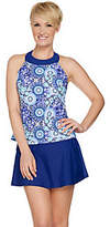 As Is Ocean Dream Signature Floral Mosaic Hi Neck Tankini Swimsuit