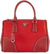 Prada Mixed Nylon Leather Satchel Bag