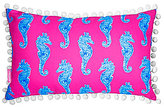 Lilly Pulitzer Horsin' Around Pom Pom-Trimmed Seahorse Canvas Indoor/Outdoor Pillow