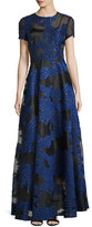 Escada Short-Sleeve Fil Coupe Gown, Black/Blue