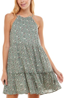 Trixxi Juniors' Floral-Print Tiered Halter Dress