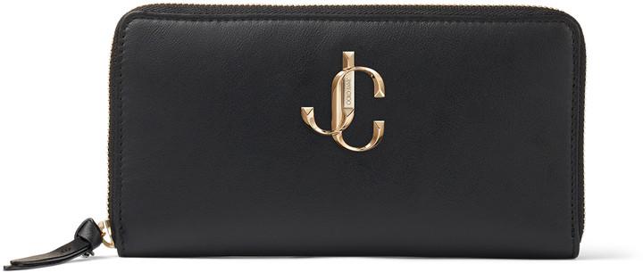 Jimmy Choo PIPPA Black Calf Leather Zip Around Wallet