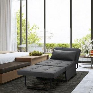 "Latitude Run Chaliyah Linen 74.02"" Wide Armless Sofa Bed Fabric: Dark Gray"