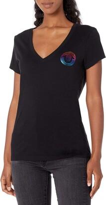 True Religion Women's Rainbow Graphic Short Sleeve Deep V Neck Tee