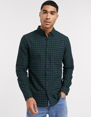 New Look long sleeve check shirt in green