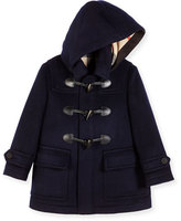 Burberry Burwood Hooded Wool Toggle Coat, Dark Indigo, Size 4-14