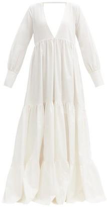 Kalita Circle Tiered Cotton-satin Maxi Dress - White