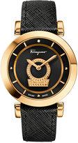 Salvatore Ferragamo Women's Swiss Minuetto Diamond Accent Black Leather Strap Watch 37mm FQ4230015