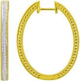 JCPenney FINE JEWELRY 1/3 CT. T.W. Pav Diamond Two-Tone Hoop Earrings