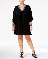 Dotti Plus Size Jewel Tones Flutter-Sleeve Tunic Cover-Up