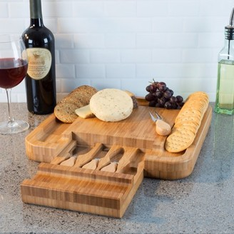 Bamboo Cheese Serving Tray with 4 Piece Stainless Steel Cutlery Set and Storage Drawer- Durable and Eco-Friendly Charcuterie Board by Classic Cuisine