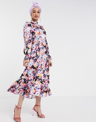 NEVER FULLY DRESSED long sleeve fluted sleeve maxi dress in pink floral print